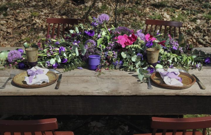 centre-table-mariage-inspiration-violet