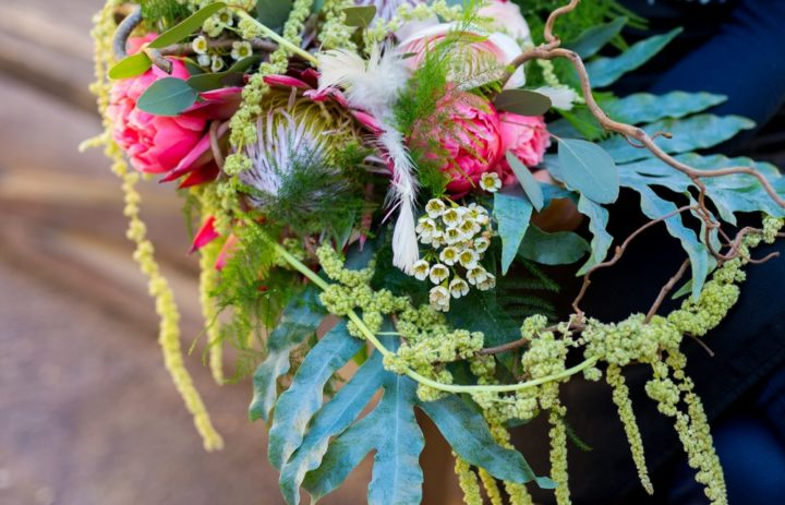 Bouquet vert et rose