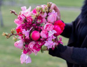Bouquet de saison été rose et fuschia, pivoine