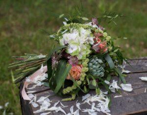 Bouquet de saison orange et vert