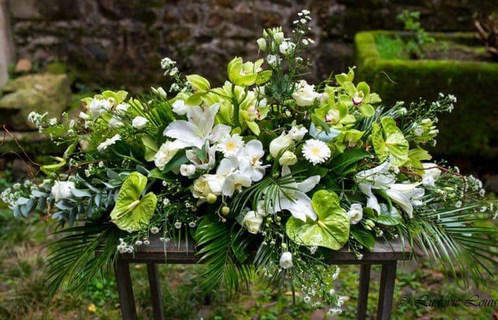 Couvre cercueil blanc et vert