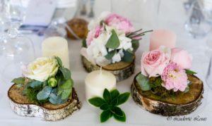 Décoration de table fleurie pour un mariage romantique en rose et blanc