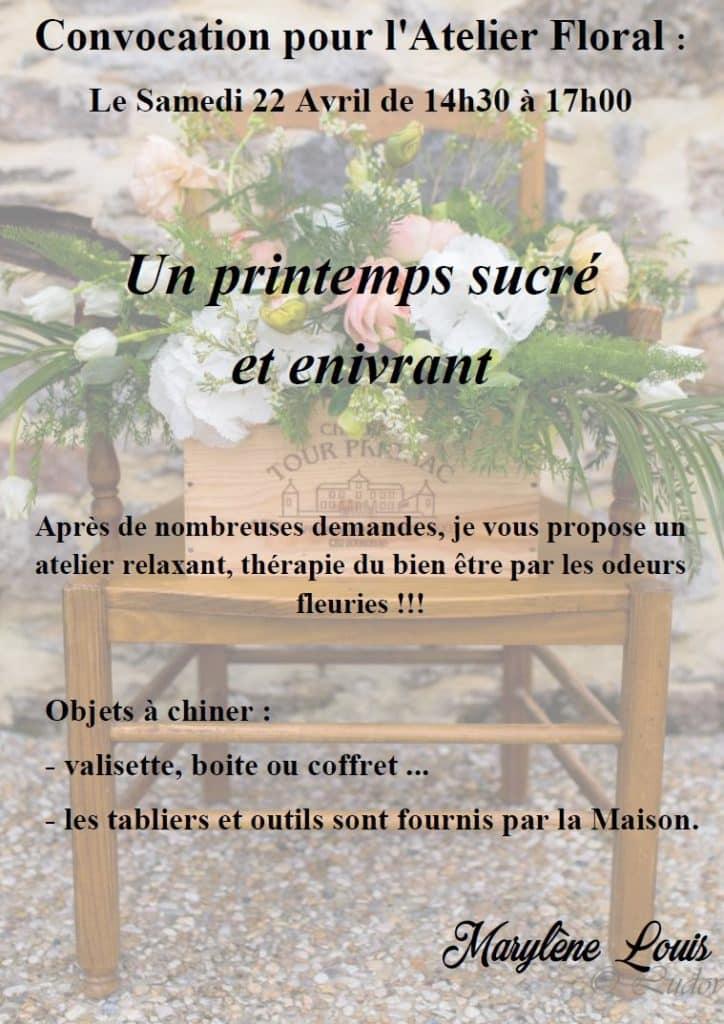 Affiche atelier floral avec descriptif et photo en fond constituée d'une composition floral sur une bergère